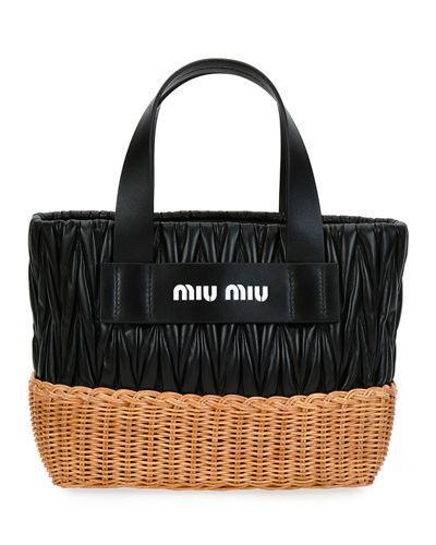 cdeffda4a71 Miu Miu Matelasse Leather   Wicker Tote Bag In Black