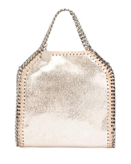 Stella Mccartney Mini Falabella Metallic Chain Tote Bag In Gray
