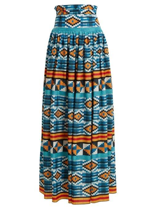 Stella Jean Ikat-Print High-Rise Maxi Skirt In Blue Multi