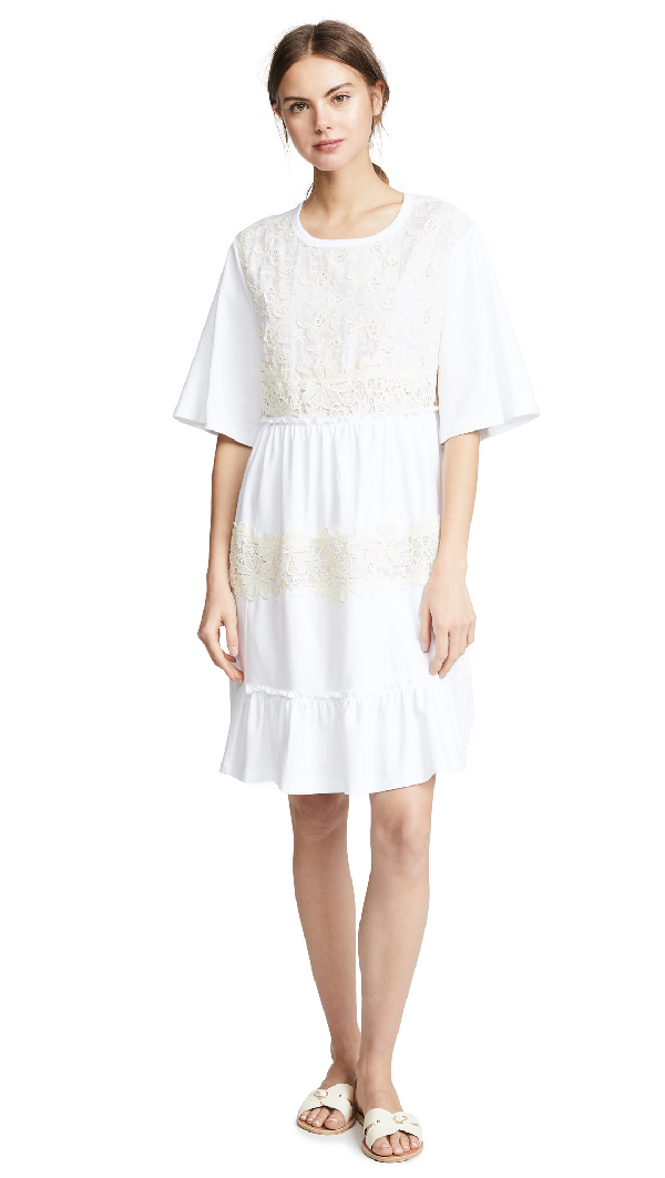 36d769d34a Lace-Accented T-Shirt Dress in White