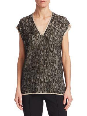 Akris Knit Linen Tunic In Black Canvas