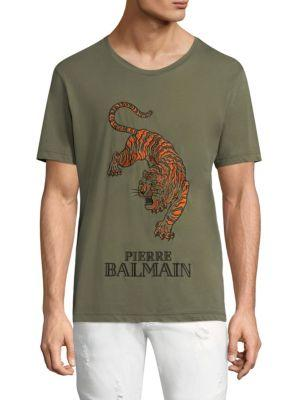 73eccfd0 Pierre Balmain Embroidered Tiger Cotton Tee In Khaki | ModeSens