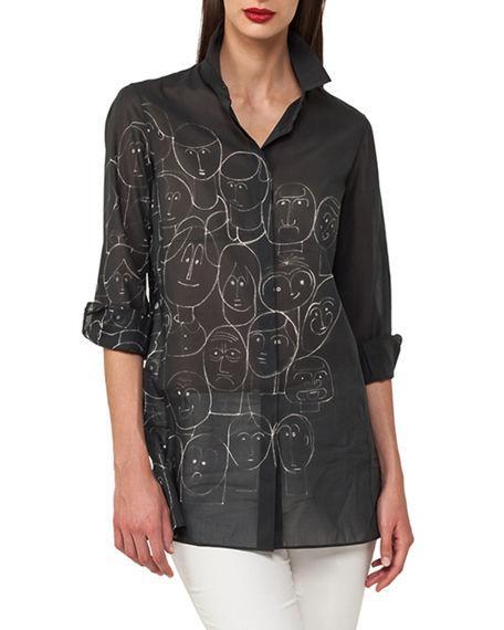 2fe9cbdb05a2b Akris Faces-Print Cotton Voile Tunic Blouse In Black
