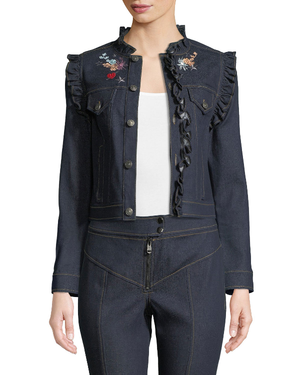 Cinq À Sept Lina Button-Front Embroidered Denim Jacket In Indigo