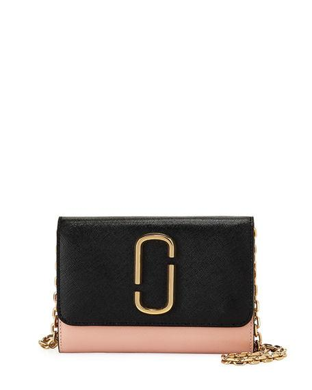 Marc Jacobs Two-Tone Saffiano Leather Wallet On A Chain In Black/Rose
