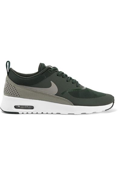 quality cozy fresh official images Air Max Thea Croc-Effect Leather-Trimmed Mesh Sneakers in Emerald