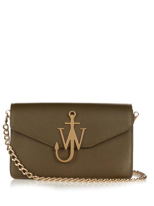 Jw Anderson Monogram Leather Shoulder Bag In Dark Olive-green