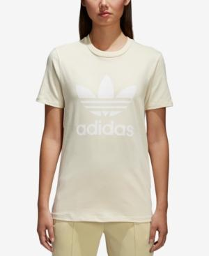 Women's Originals Trefoil T Shirt, Yellow in Mist Sun