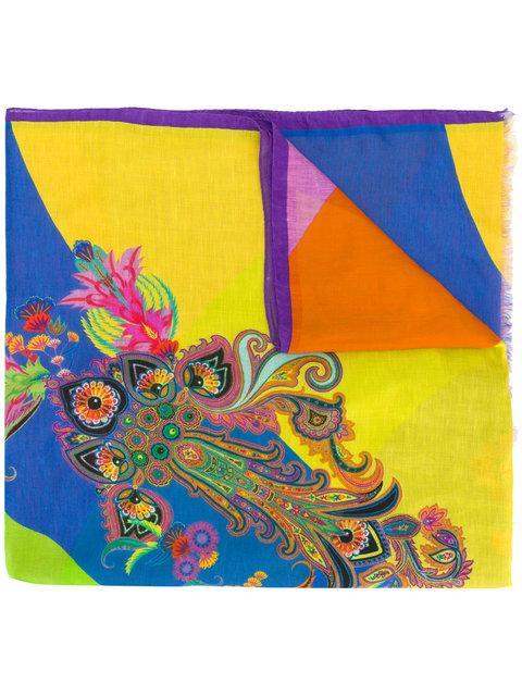 Etro Mixed Print Striped Scarf - Multicolour