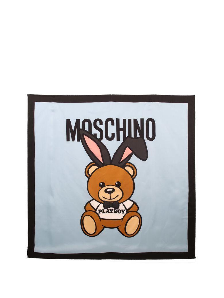 Moschino Teddy Playboy Silk Scarf In Celeste