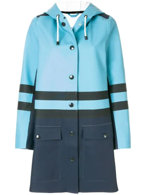 Marni Hooded Water-repellent Coat In Blue