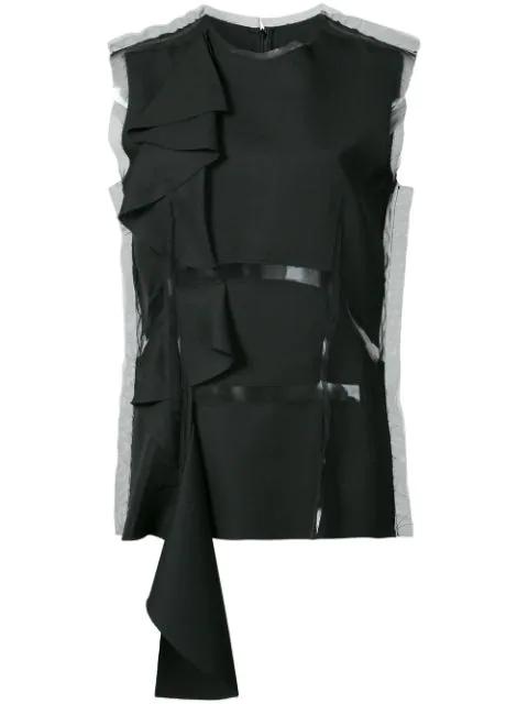 Maison Margiela Mesh Panel Wool Top In Black
