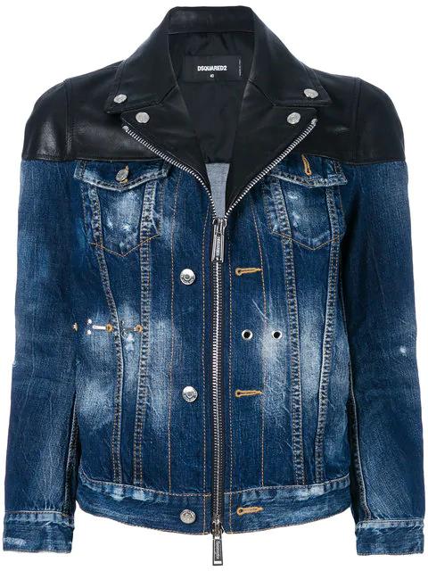 Dsquared2 Zipped Denim Jacket In Blue