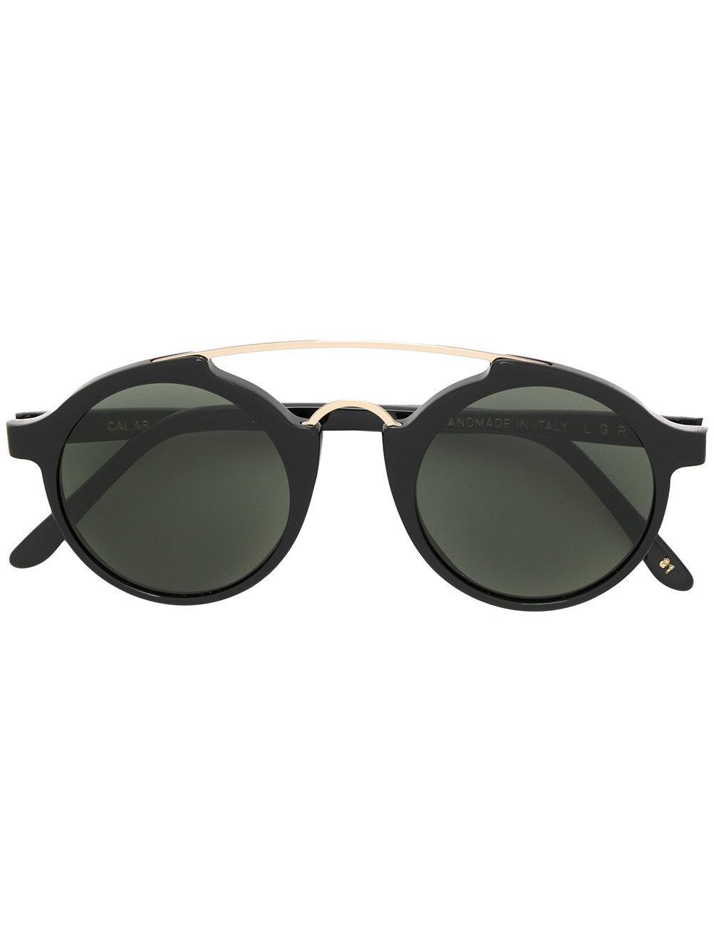91ff70f6ff3 L.G.R Double Bridge Round Sunglasses - Black. Farfetch
