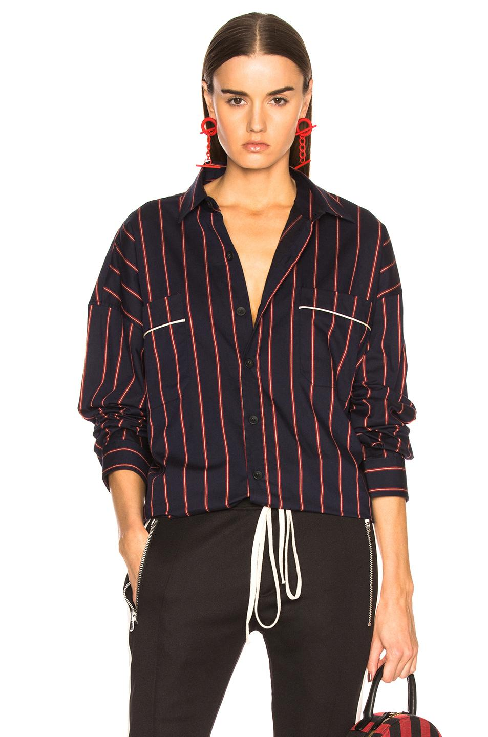 Fear Of God Piped Oversized Shirt In Blue,Stripes