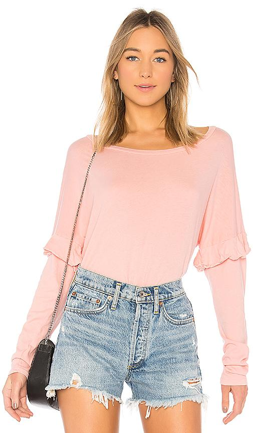 Michael Lauren Irving Ruffle Top In Pink