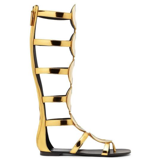 Giuseppe Zanotti - Gold Patent Leather Sandal With Accessory Rylee