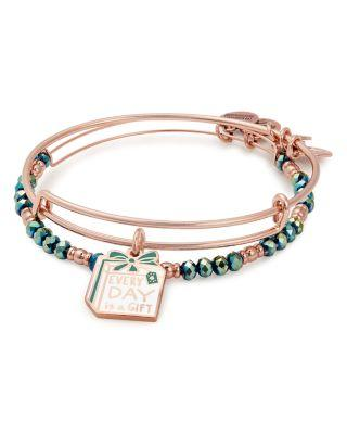 Alex And Ani Everyday Is A Gift Expandable Wire Bangles, Set Of 2 In Rose Gold