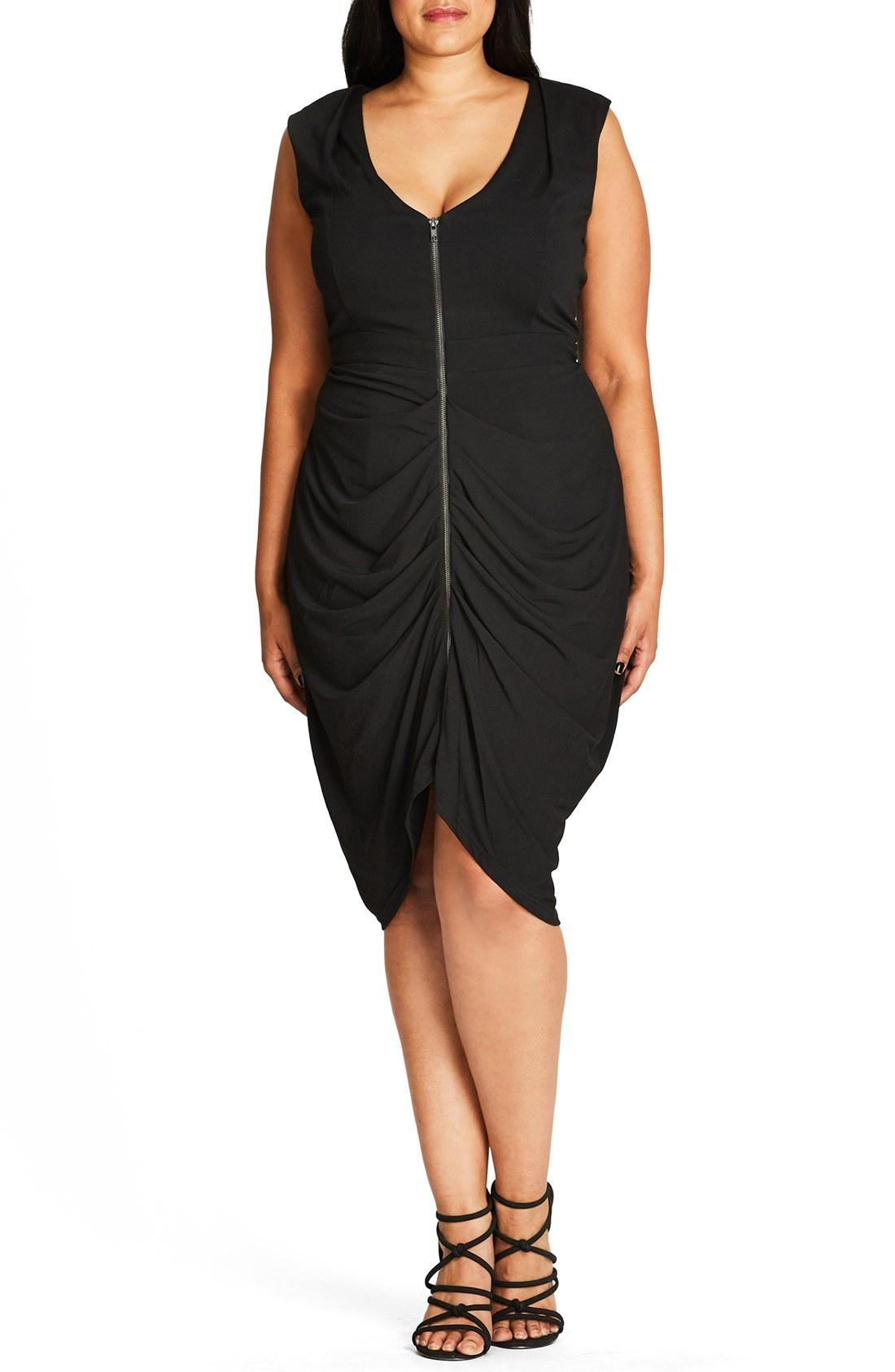 b16684aa162 City Chic Plus Size Ruched Front-Zip Bodycon Dress In Black