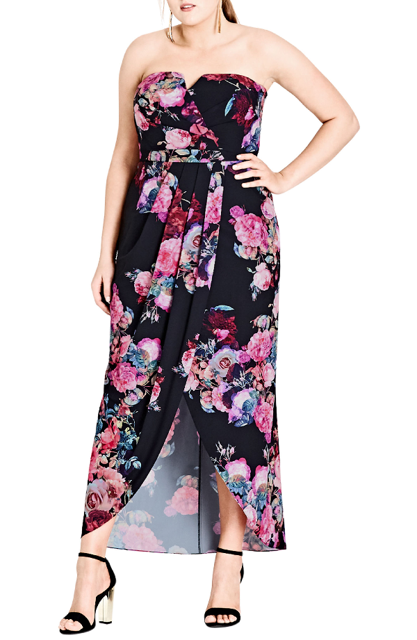 Trendy Plus Size Strapless Maxi Dress in Black