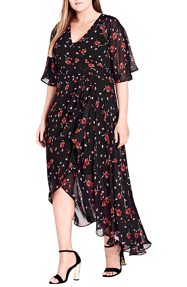 Trendy Plus Size Fall In Love Floral Wrap Dress in Black