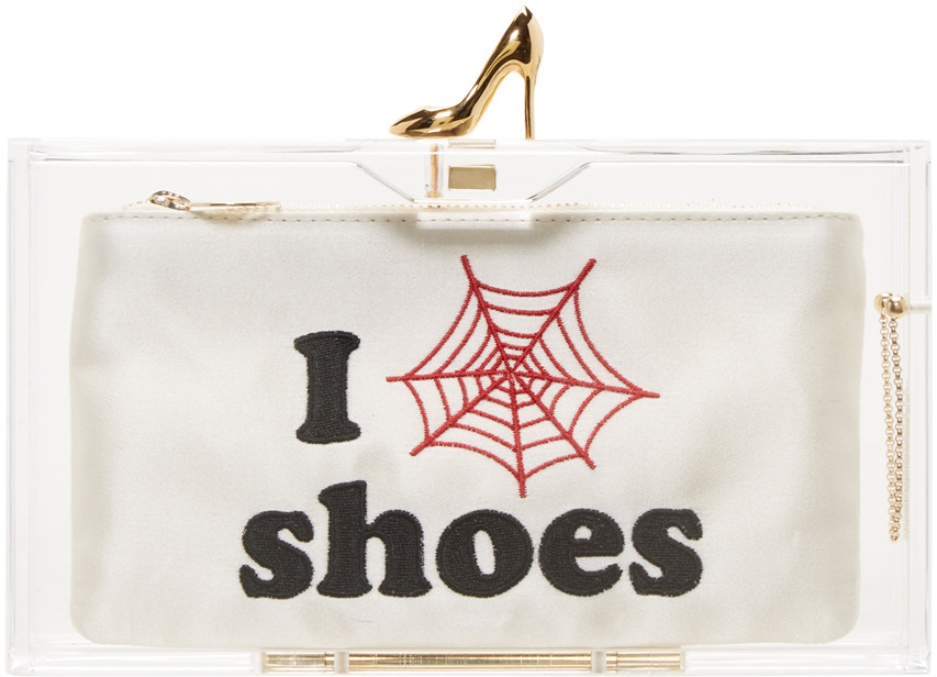 Charlotte Olympia Clear Pandora Loves Shoes Clutch Box W/Shoe Clasp In White