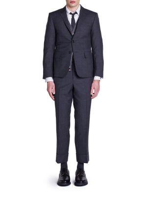 Thom Browne Super 120s Plain Weave Suit In Dark Grey