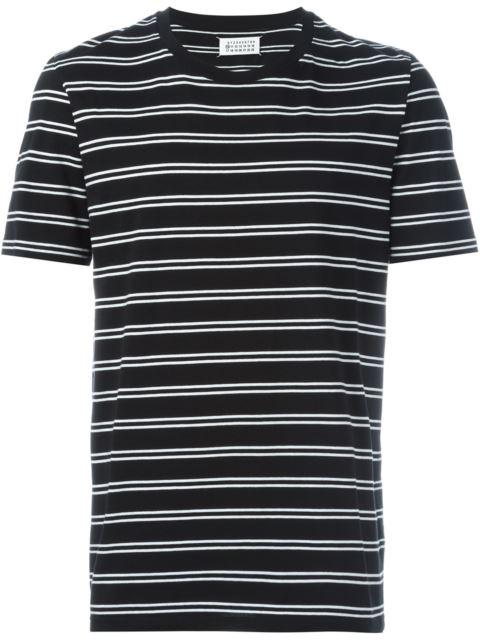 Maison Margiela Three Pack Striped Short Sleeve T-shirts In Black