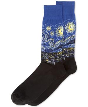 Hot Sox Men's Socks, Starry Night In Blue/black