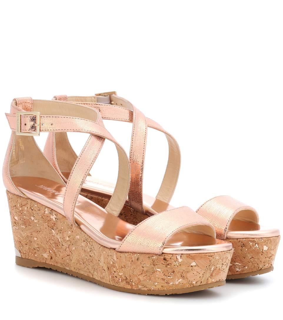 Jimmy Choo Portia 70 Metallic Leather Platform Sandals In Pink