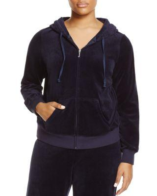 ceb71e5630c9 Juicy Couture Black Label Trendy Plus Size Robertson Velour Hoodie In Regal
