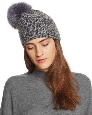 7a79dc7b854e8 Kyi Kyi Slouchy Hat With Fox Fur Pom-Pom - 100% Exclusive In Charcoal