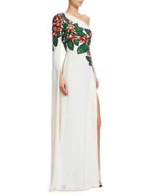 003d72d944 Elie Saab One-Shoulder Floral Bead-Embroidered Asymmetrical Evening Gown In  White-Multi