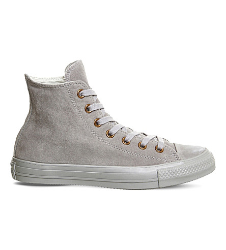Converse All Star Hi Suede Sneakers In Ash Grey Rose Gold