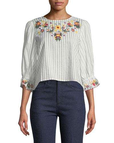 022cdc36365686 Haute Rogue Embroidered Ruffle-Sleeve Blouse In White | ModeSens