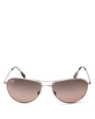 0fee948999c Maui Jim Sea House 60Mm Polarized Titanium Aviator Sunglasses In Rose Gold  Maui  Rose