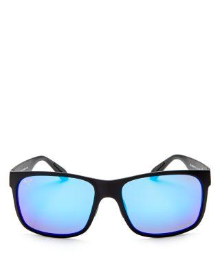 dfc33ab83a6d Maui Jim Men's Red Sands Polarized Mirrored Rectangle Sunglasses, 59Mm In Black  Matte/Blue