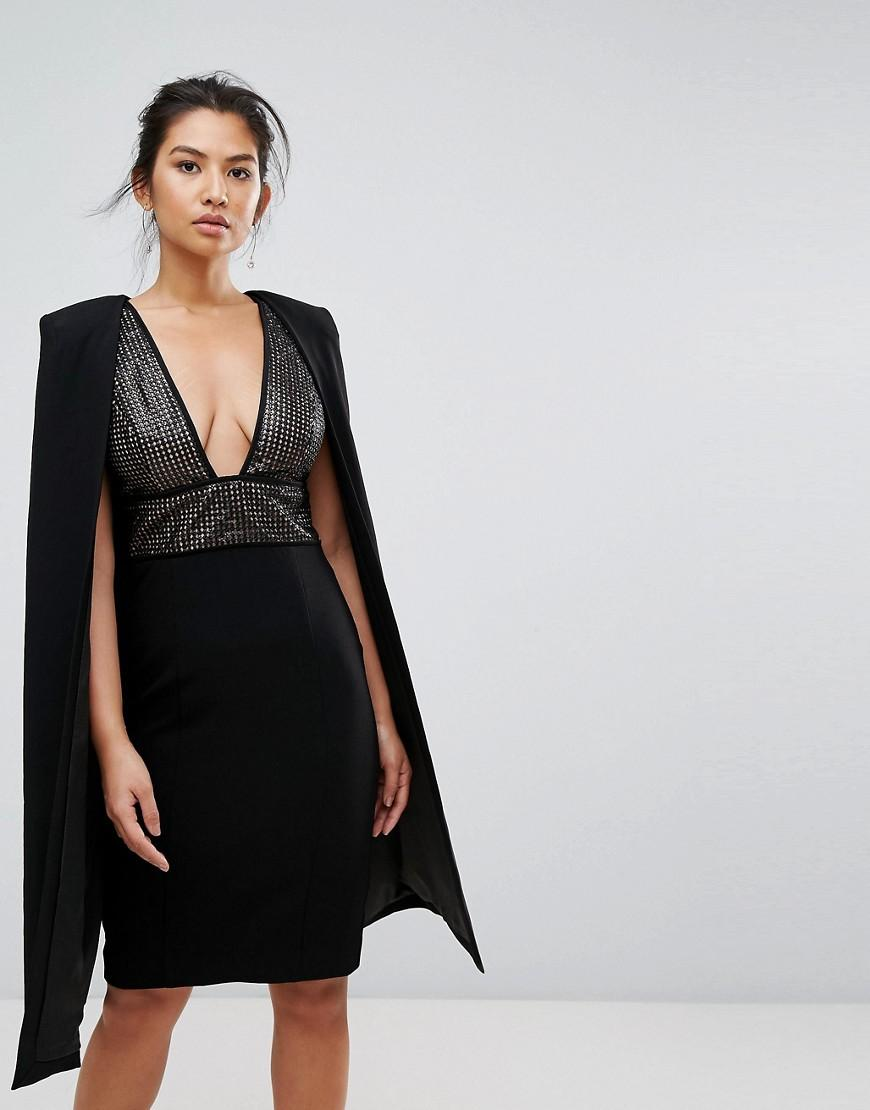 Collection Structured Sequin Midi Dress With Cape Overlay - Black