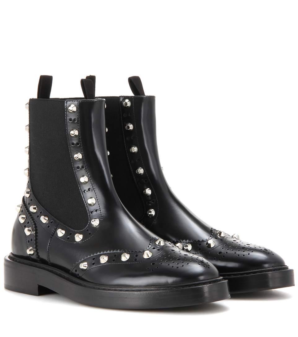 Balenciaga Studded Chelsea Brogue Boot, Black (noir) In Eoir