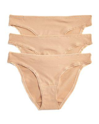 On Gossamer Cabana Cotton Stretch Hip Bikinis, Set Of 3 In Champagne