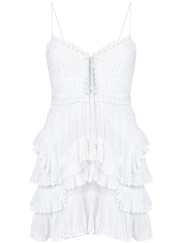 Isabel Marant Zowie Deep-v Sleeveless Crochet Lace Mini Dress, White