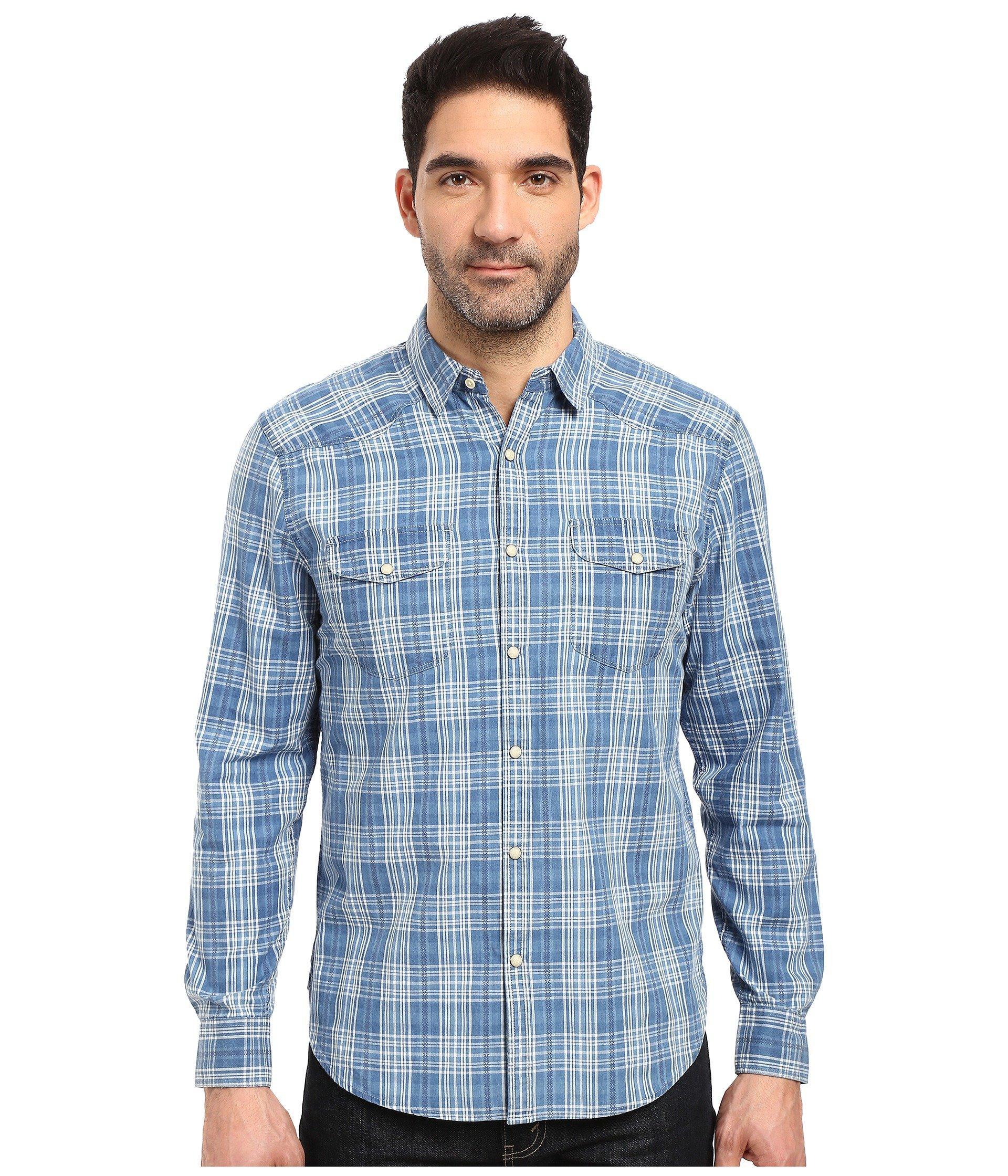 2dde6d0541 Lucky Brand Santa Fe Western Shirt In Blue White
