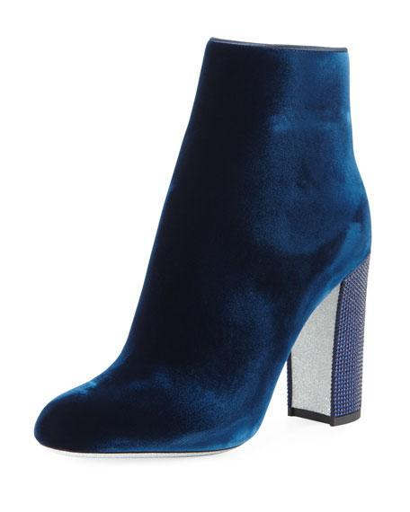 RenÉ Caovilla Velvet Crystal-Heel Bootie In Blue