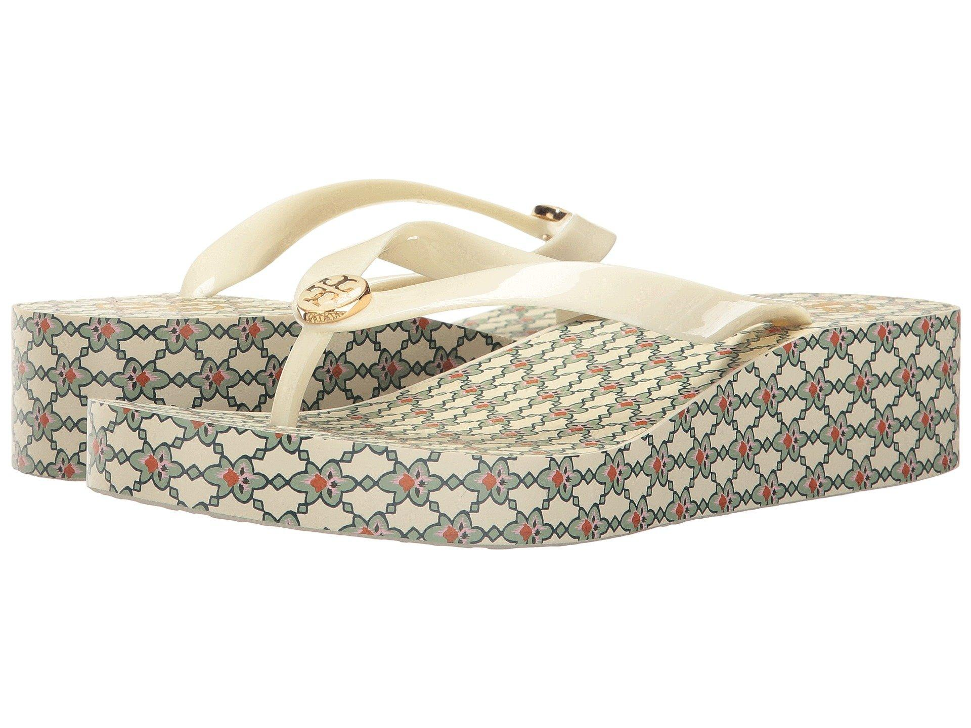 ba029cb43662a2 Tory Burch Wedge Flip Flop In Piazza New Ivory