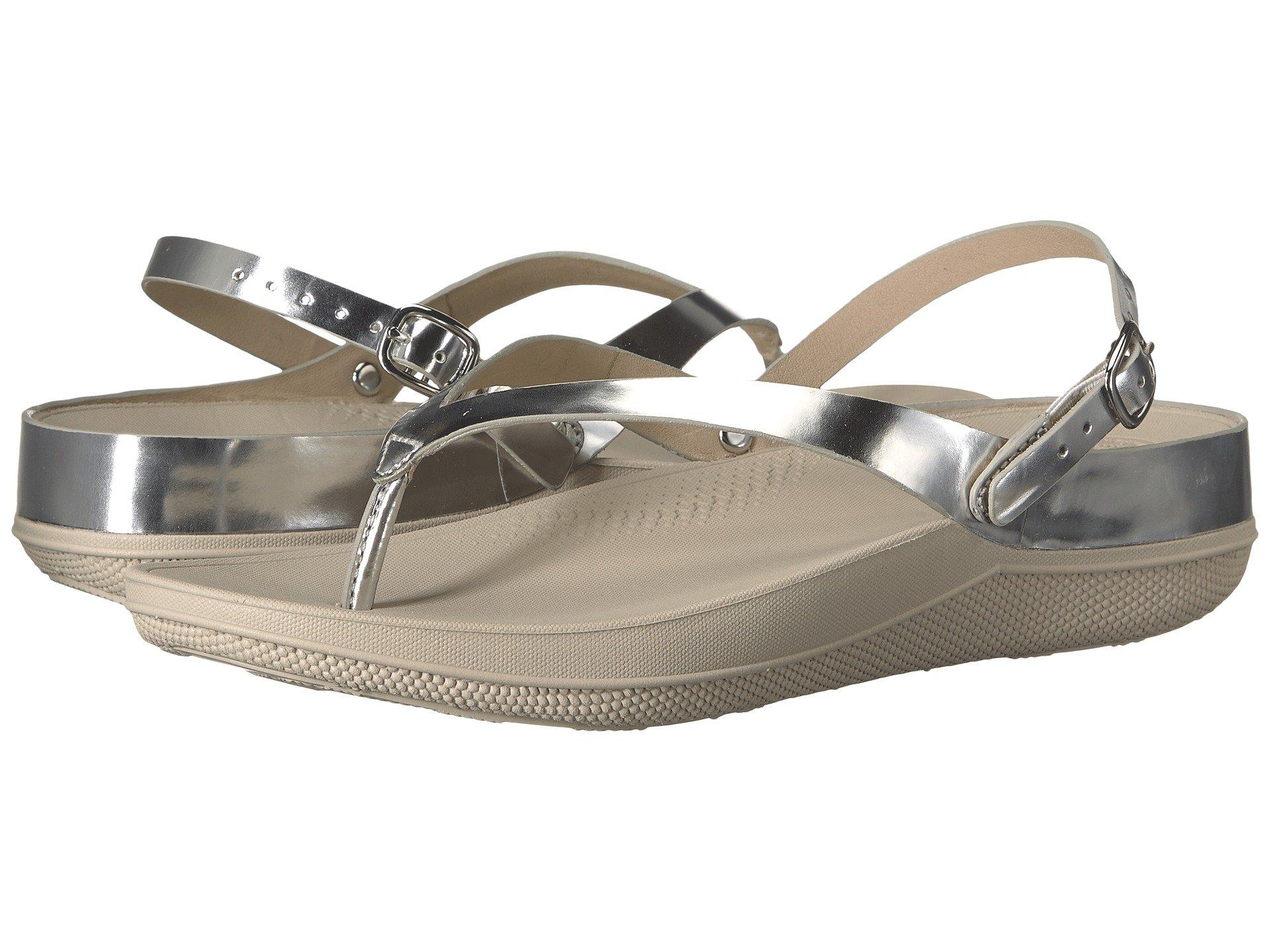 a79ef0e582dd Fitflop Flip Leather Sandals In Silver Mirror