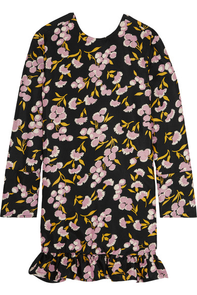 Marni Woman Ruffled Floral-print Cotton And Silk-blend Mini Dress Black