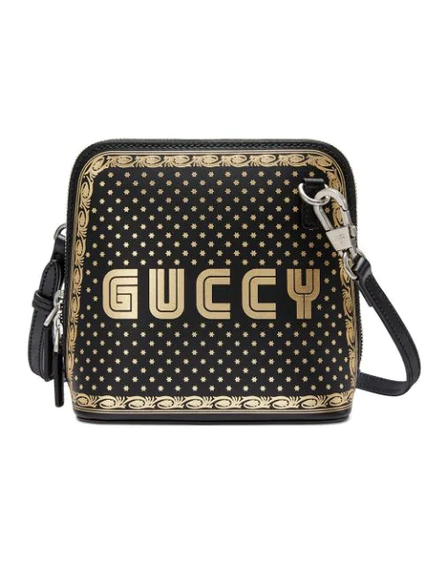 d972d3f098f2 Gucci Guccy Logo Moon & Stars Leather Crossbody Bag - Black   ModeSens