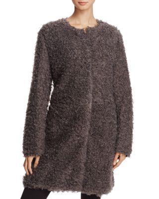 Via Spiga Reversible Lightweight Faux Fur Coat In Gray