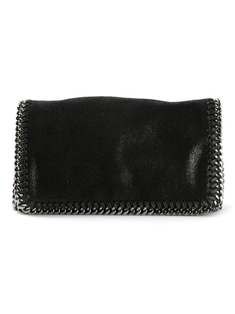 Stella Mccartney Black Faux Suede 'Falab' Braided Chain Detail Shoulder Bag