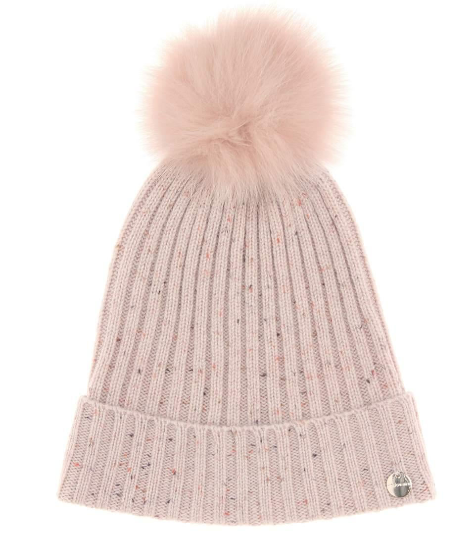 ec7c73c8 Yves Salomon Fur-Trimmed Wool And Cashmere Hat In Eau De Rose | ModeSens